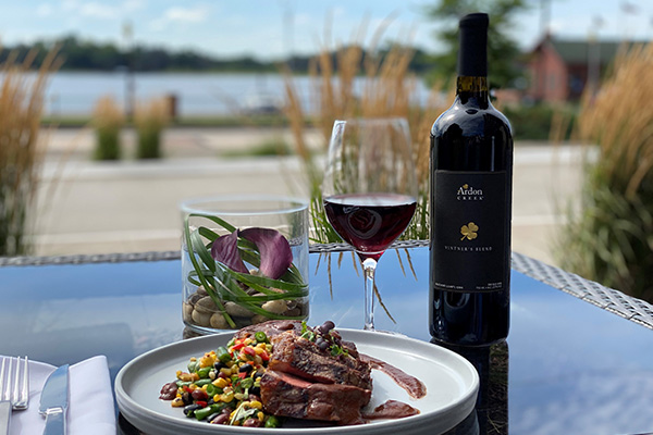 Wine and steak along the Mississippi River
